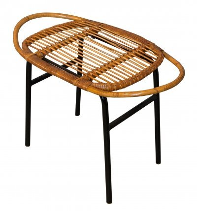 Mid Century Rattan Stool by Alan Fuchs for Experimental Housing Project