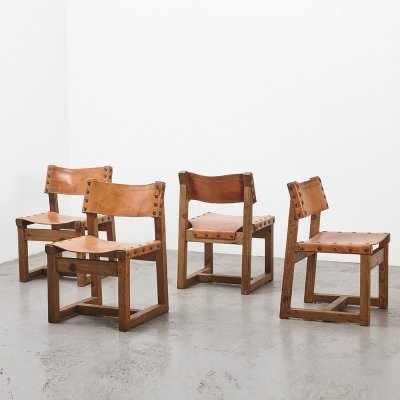 Set of 4 Brutalist Dining Chairs in Oak & Leather, 1970s