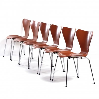 Set of 6 Butterfly Chairs by Arne Jacobsen for Fritz Hansen, 1970s