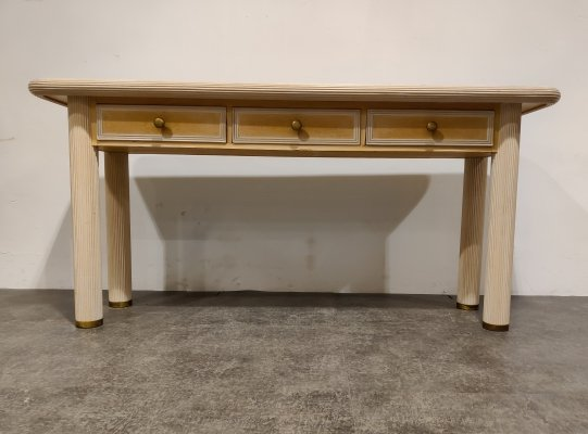 Vintage travertine & bamboo console table, 1980s