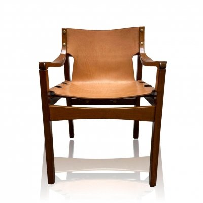 Chair with suspension seat back in natural leather & wood, 1960's