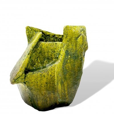 Handcrafted vase in green & yellow glazed ceramic, 1960