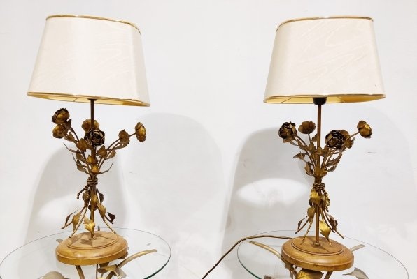 Pair of Vintage floral table lamps, 1960s