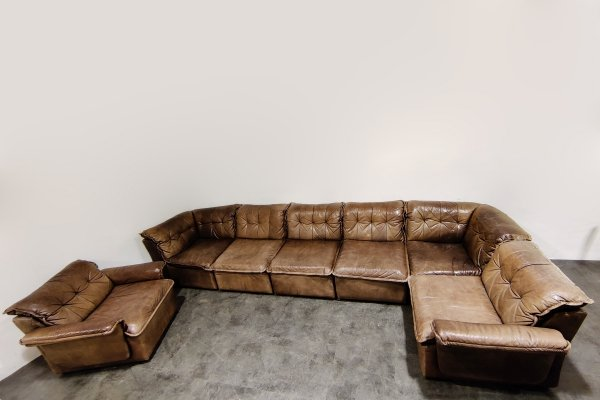 Vintage brown leather modular sofa by Laauser, 1960s