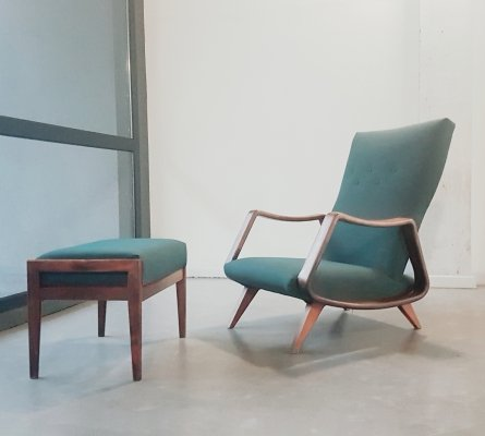 Mid-Century Walnut Lounge Chair & hocker by A. A. Patijn for Zijlstra Joure, 1950s