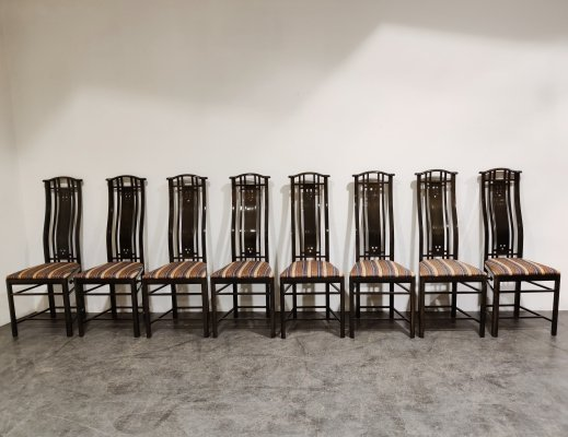 Set of 8 Dining chairs by Umberto Asnago for Giorgetti, 1980s