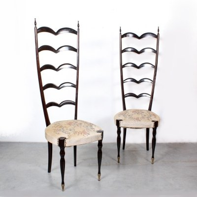 Pair of Ladder back dining chairs by Paolo Buffa, 1950s