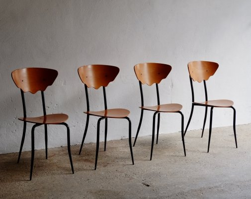 Set of 4 Plywood Chairs, 1980's