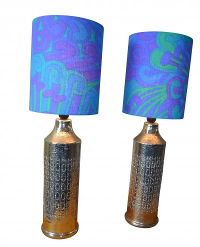 Pair of Glazed Ceramic Table Lamps by Bitossi for Bergboms, 1965