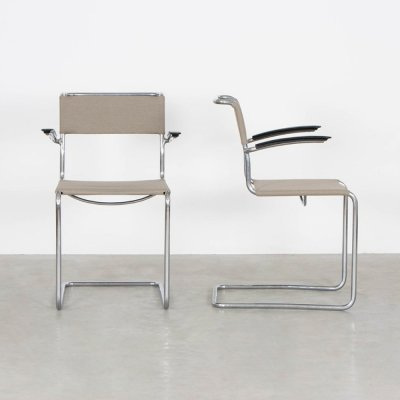 Pair of model 204 dining chairs by W. Gispen for Gispen, 1930s