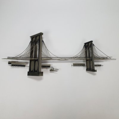 Large Metal Brooklyn Bridge Wall Sculpture by Curtis Jere, signed 1976