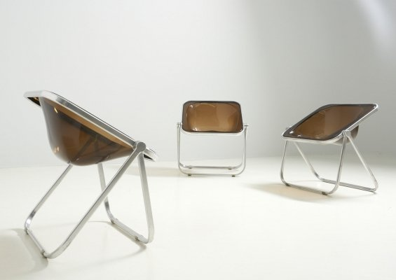 Set of Three 'Plona' Chairs by Giancarlo Piretti for Castelli, Italy 1970's