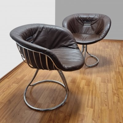 Pair of Pan Arm Chairs by Gastone Rinaldi for Rima, Italy 70s