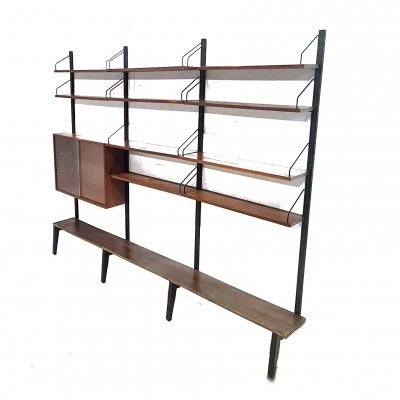 Large wall unit with metal stands by Cadovius for Royal System, Denmark 1960s