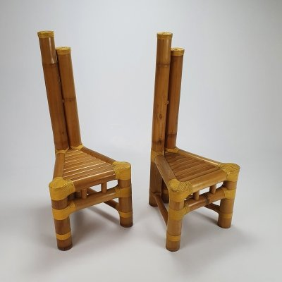 Set of 2 Vintage Bamboo Side Chairs, 1970s