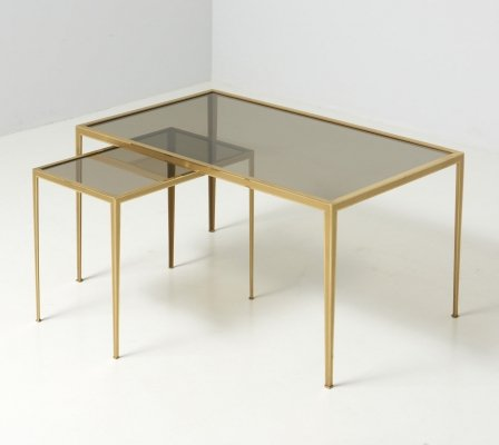 Set of Two Side Tables with a Brass Frame, 1960's