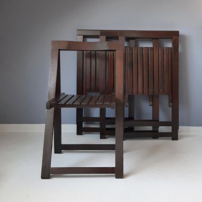 Set of 4 Brown Folding Chairs by Aldo Jacober for Alberto Bazzani, 1970s