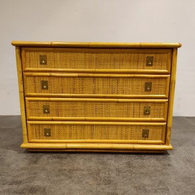 Wicker & bamboo chest of drawers by Dal Vera, 1960s