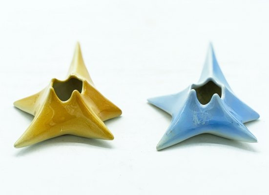 Star-shaped candle holders in fully glazed colored ceramic by Laveno Italy