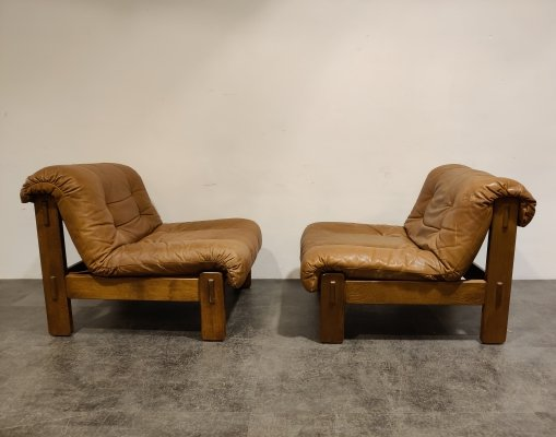 Pair of leather lounge chairs, 1970s
