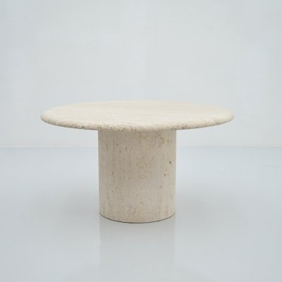 Round Travertine Coffee Table by Up & Up, Italy 1970s