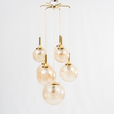 Large 1960s cascade light with seven amber coloured glass balls