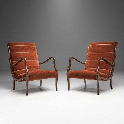 Pair of Ezio Longhi Ribbed-Back Lounge Chairs for ELAM, Italy 1960s