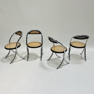 Set of 4 Italian design webbing dining chairs with chrome tube frame, Italy 1970