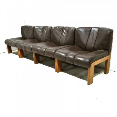 Set of 4 wood & leather lounge chairs by Girsberger, Germany 1970s