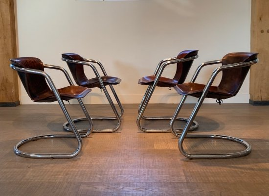 Set of 4 cognac leather Tubular dining chairs for Metaform, 1970s