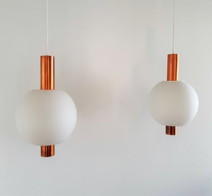 Rare set of 2 pendant lamps in copper & glass by Hiemstra Evolux, 1960s