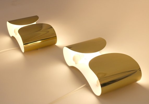Pair 'Foglio' wall lamps by Tobia Scarpa, Italy 1980s