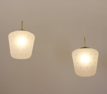 Etched glass ceiling lamps, Sweden 1950s