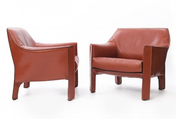 2 x Cab 415 arm chair by Mario Bellini for Cassina, 1980s