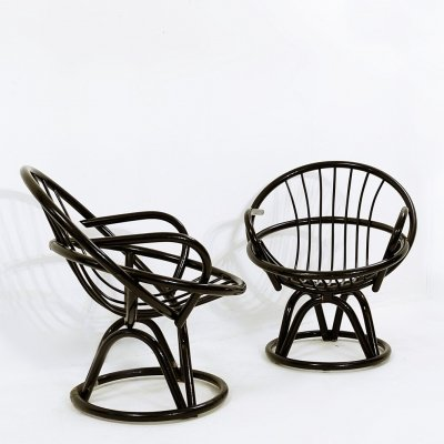 Pair of Black Lacquered Shell-Shaped Armchairs, 1960s