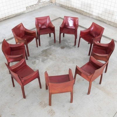 Burundy red CAB 413 armchairs by Mario Bellini for Cassina, 1970s