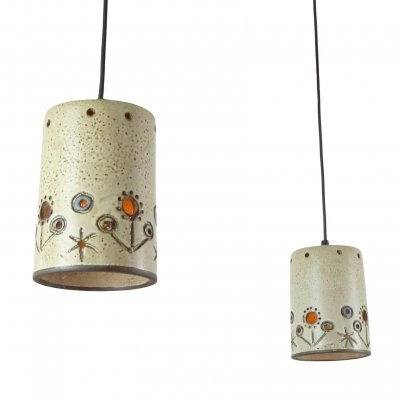 Pair of small ceramic pendants by Hannie Mein, 1960s