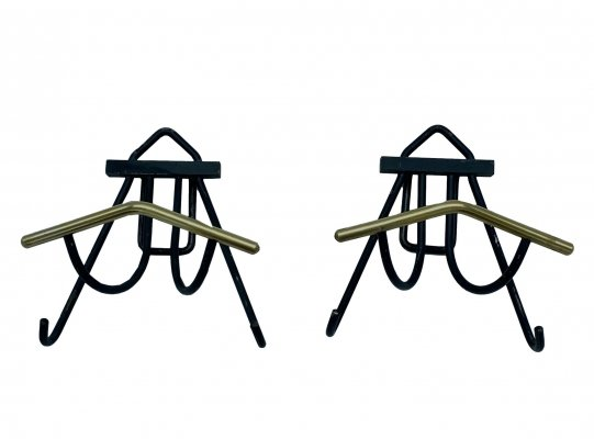 Pair of small wall hangers in black painted metal & brass, Italy 1950s