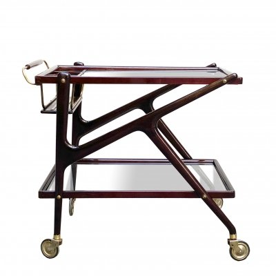 Mahogany food trolley by Cesare Lacca with brass details, 1950s