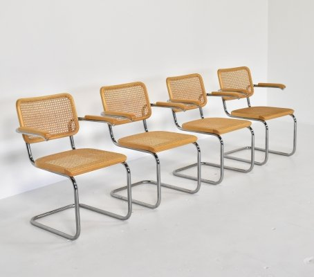 Set of 4 Cesca dining chairs by Marcel Breuer for Thonet, 1980s