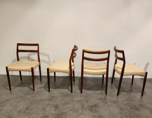 Set of 4 vintage palisander dining chairs, 1960s