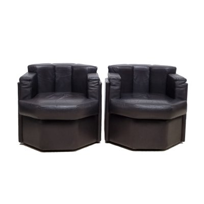 Set of Dark Brown Leather Club Chairs, 1970s