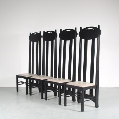 'Argyle' chairs by Charles Rennie Mackintosh, Italy 1980s