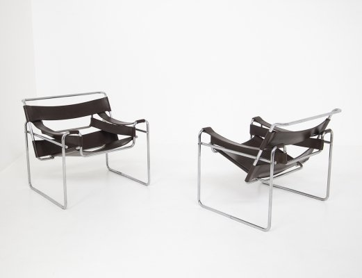 Pair of Wassily Model B3 lounge chairs by Marcel Breuer for Gavina, 1970s