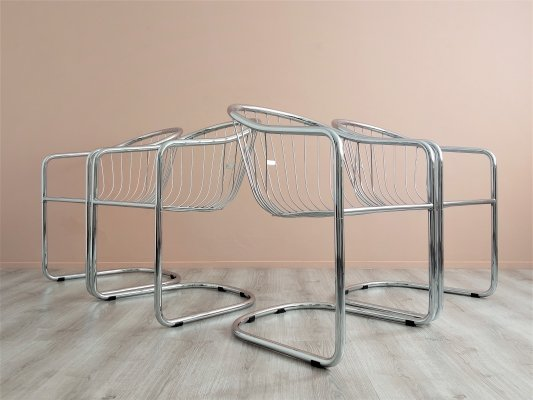 Set of 4 Chrome Metal Wire Dining Chairs by Gastone Rinaldi