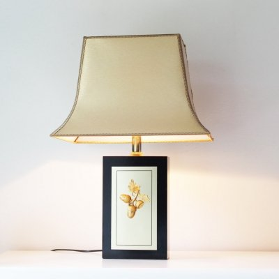 Wood & Brass 'Acorn' Table Lamp by Maison Le Dauphin, France 1970's