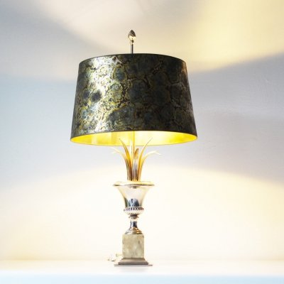 Brass & Onyx Palm table lamp by SA Boulanger, Belgium 1970's