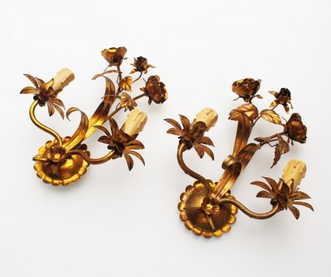 Pair of Gilt 'Rose' wall lights by Hans Kögl, Germany 1960's
