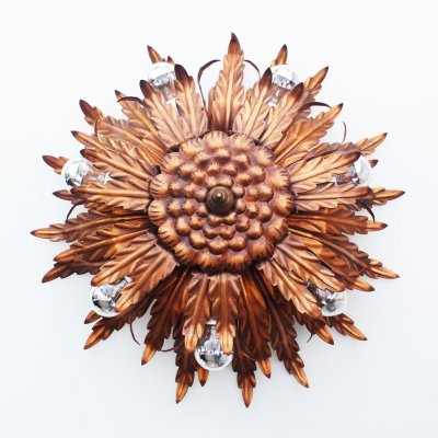 Large Florentine Wall or Ceiling Light, Italy 1970's
