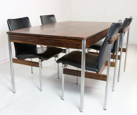 Thereca dining set in rosewood & leather, 1960s